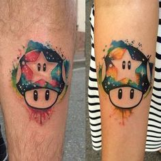 Amazing Matching Mario Mushrooms by Thanks again Partner Tattoos, Sibling Tattoos, Family Tattoos, Sister Tattoos, Couple Tattoos, Nintendo Tattoo, Gaming Tattoo, Body Art Tattoos, New Tattoos