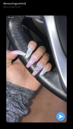 21 Elegant Nail Designs with Rhinestones - Amately Gorgeous Nails, Pretty Nails, Coffin Nails, Acrylic Nails, Acrylics, Finger, Gray Nails, Dope Nails, Toe Nail Designs