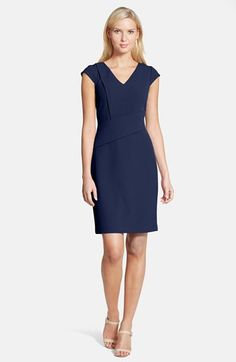 $98 Papell Asymmetric Waist Stretch Crepe Sheath Dress available at #Nordstrom MULTIPLE COLORS AVAILABLE