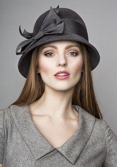 Rachel Trevor Morgan Millinery Autumn Winter 2015 R15W36 Grey cloche hat with petersham bow