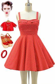50s Style RED & White POLKA DOT Bombshell PINUP Full Skirt Sun Dress
