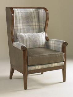 Plaid Upholstered Chairs | ... Finished Occasional Chair With Wool Plaid  And Leather Upholstery