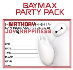 Free!! BayMax Printable Party Decoration Pack! - On the Scene with Mrs Kathy King