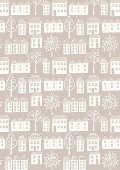 """Lewis+&+Irene+""""Town""""+Häuser+Bäume+natur+von+PWVs+Stoffregal+auf+DaWanda.com"""