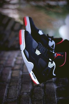Air Jordan 4 BRED photography Source by Nike Air Jordan Retro, Air Jordan Shoes, Jordan Shoes For Men, Air Jordan 4 Bred, Zapatillas Jordan Retro, Urban Apparel, Hype Shoes, Fresh Shoes, Nike Shoes Outlet