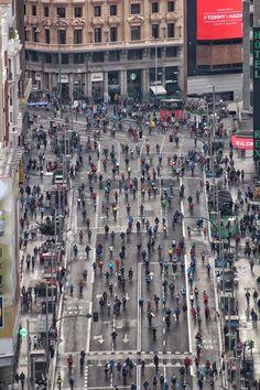 Gran Via on Bicycle Day, Madrid, Spain
