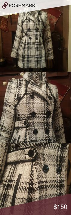 Cream and Black Trench Coat Excellent condition! Only worn two or three times. Very warm! Shell : 87% polyester 10%cotton 3% other fiber  Lining : 100% polyester with polyurethane coating Trim : Non leather  Offers welcome! Jackets & Coats Trench Coats