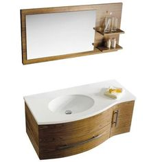 Vigo 44 in. Vanity Cabinet with Top, Mirror and Shelves in Walnut-VG09005108LHK at The Home Depot, $1298