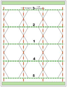 Tips for Cutting Hexagon Templates | Geta's Quilting Studio ..... Put underneath the printed paper, 3 or 4 blank pages. Glue on the top and bottom of the pages together(green areas) to keep them aligned. Use ruler and cutter to cut first on the red lines and then cut on the green lines.
