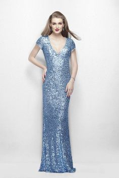Primavera This fitted sheath sequin dress by Primavera Couture is enticing. It has demure cap sleeves, a plunging V-neckline and a classic high back. Available in Powder Blue, Gold & Rose Gold.