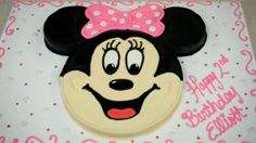 """Easy Minnie Mouse Cake. I used a 12"""" round for the face, two 6"""" rounds for the ears and three mini loaves to carve for the bow."""