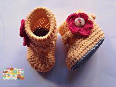 Chaussons au crochet bébés Coton