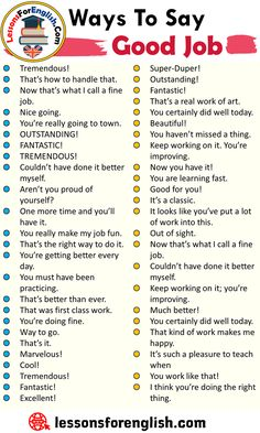 Ways To Say Good Job, English Phrases Examples Tremendous! That's how to handle that. Now that's what I call a fine job. Good Vocabulary, English Vocabulary Words, Learn English Words, English Phrases, English Idioms, Essay Writing Skills, English Writing Skills, Writing Words, English Communication Skills