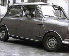 Paul McCartney in a Mini Cooper 1960's