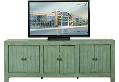 Pine Shores Turquoise 80 in. Console .544.0. 80W x 16D x 30H. Find affordable Home Entertainment for your home that will complement the rest of your furniture.  #iSofa #roomstogo