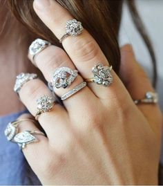 Love the unique feel of these vintage diamond engagement rings.