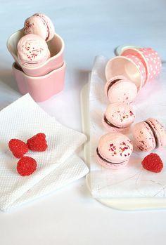 Raspberry Rose Dark Chocolate Macarons