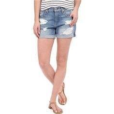 7 For All Mankind Relaxed Mid Roll Shorts w/ Destroy in Rigid Blue... ($68) ❤ liked on Polyvore featuring shorts, blue, distressed shorts, short shorts, destroyed denim shorts, ripped jean shorts and frayed jean shorts