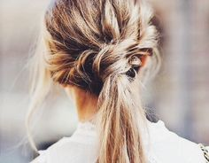 Twisted braided low ponytail