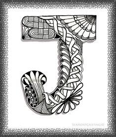 Zentangle J Monogram Alphabet Illustration Art Print by Vermont Greetings on Wanelo Doodle Art Letters, Doodle Art Journals, Doodle Lettering, Creative Lettering, Typography, Decorative Lettering, Doodle Alphabet, Alphabet Design, Monogram Alphabet