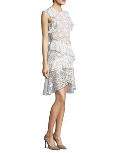 ALEXIS Arleigh Sleeveless Floral Lace Ruffle Dress. #alexis #cloth #