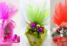 Regalos navideños envueltos con tul Christmas Treats, Christmas Decorations, Table Decorations, Christmas Ornaments, Glass Vase, Hair Beauty, Gift Wrapping, Baby Shower, Gifts