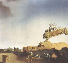 Salvador Dali >> Apparition de la ville de Delft, vers 1936     (huile, reproduction, copie, tableau, oeuvre, peinture).