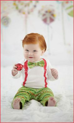 What a cute baby boy Christmas outfit with bow tie and suspenders! Baby Boy Christmas, Christmas Fun, Holiday Fun, Boy Nursery Themes, Baby Boy Photos, Boy Onesie, Cute Baby Boy, Baby Boy Rooms, Funny Babies
