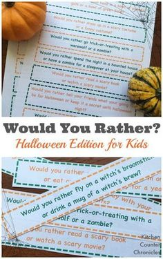 Silly and Spooky Would You Rather Halloween Questions for Kids - - How will your family answer these silly Halloween would you rather questions? An awesome free Halloween game for families to play together. Halloween Tags, Free Halloween Games, Diy Halloween Party, Halloween Activities For Kids, Holidays Halloween, Halloween Themes, Halloween Science, Halloween Printable, Youth Activities