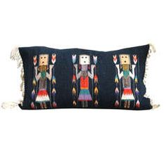 Fanciful Yeibechai Navajo Woven Bolster Pillow