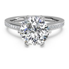 Six-Prong Solitaire Micropavé Diamond Band Engagement Ring in Platinum... ❤ liked on Polyvore