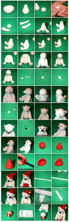 4 tutorials and SUPER TIPS! Fimo or salt dough! 4 tutorials and SUPER TIPS! Fimo or salt dough! Fondant Animals, Clay Animals, Fondant Figures, Clay Figures, Cake Fondant, Fondant Olaf, Cute Polar Bear, Polar Bears, Teddy Bear