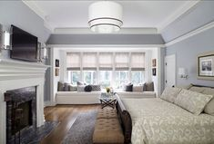 50 Master Bedroom Ideas That Go Beyond The Basics 1 (window seat) Cozy Bedroom, Beautiful Bedrooms, Traditional Bedroom, Bedroom Window Design, Home, Home Bedroom, Bedroom Fireplace, Interior Design Bedroom, Master Bedroom Windows