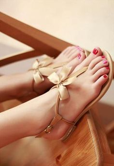 perfect for a date or the summer #shoes #bows | See more about flat sandals, bow sandals and sandals.