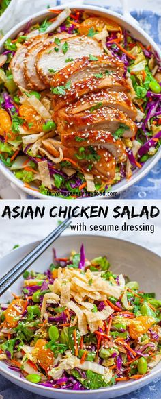 Asian Chicken Salad (video) - Tatyanas Everyday Food Salmon Recipes, Pork Recipes, Cooking Recipes, Tatyana's Everyday Food, Asian Chicken Salads, Healty Dinner, Best Dinner Recipes, Yummy Appetizers, One Pot Meals