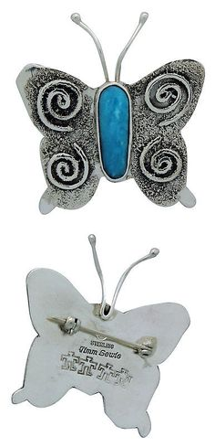 Pins Brooches 98499: Timm Lewis, Pin, Butterfly, Kingman Turquoise, Sterling Silver, Navajo Made,1.75 -> BUY IT NOW ONLY: $125 on eBay!