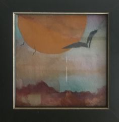 Collaged scene of a sunset. Art, Painting, Scene, Sunset
