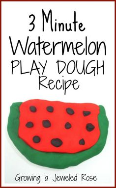 Amazing watermelon play dough in just three minutes- smells so good!  I love this recipe!