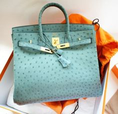 Hermès Blue Jeans Ostrich Birkin Bag