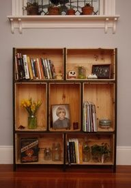 wine crate bookshelf: super awesome idea. i have friends who buy the empty wine crates from Sams/COSTCO, so ill bet i could get enough to make a couple of these fairly cheaply.  ive also seen this as a floating headboard/bookshelf above a bed for book/alarm clock/tchotchke storage or display