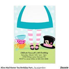 alice mad hatter tea birthday party invitations tea party invites