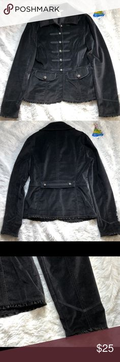 WHITE HOUSE BLACK MARKET black corduroy jacket White House black market size 2 corduroy jacket —perfect condition  —No missing buttons - no holes ..etc  —Military  style —it is coming from smoke free home White House Black Market Jackets & Coats Blazers
