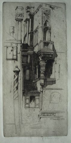"David Young Cameron etching, ""Tintoretto's House, Venice"""