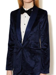 Rex Velvet Tuxedo Jacket with Silk Combo by Elizabeth and James at Gilt