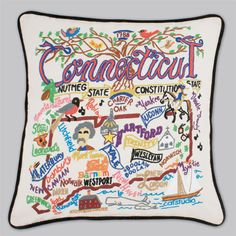 Product Description The Constitution State This original design celebrates the State of Connecticut in amazing detail. This Pillow is entirely hand embroidered on a light tea-color cotton cover that b