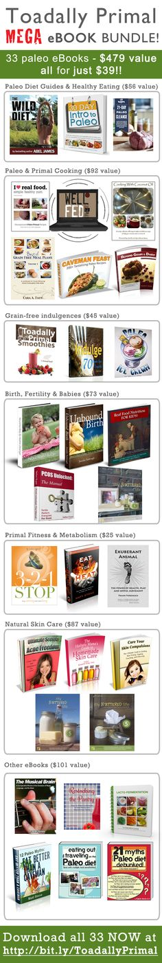 Incredible Paleo, Primal and Wellness eBook bundle. Get 33 eBooks for just 39 dollars! Total bundle is valued at just under 500 dollars!
