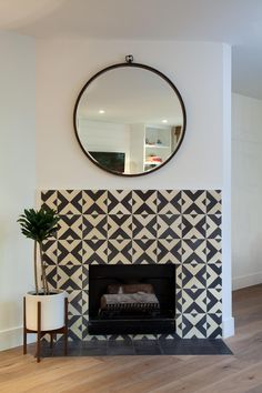 Design firm, Studio Matsalla, takes fireplaces to a new level with Granada Tile's Serengeti pattern. Order these bold and beautiful #cementtiles now. Designer: Studio Matsalla Photographer: Design Milk Condo Remodel, Living Room Remodel, Fireplace Surrounds, Fireplace Design, Fireplace Tiles, 1930s Fireplace, Fireplace Glass, Fireplace Drawing, Fireplace Candles
