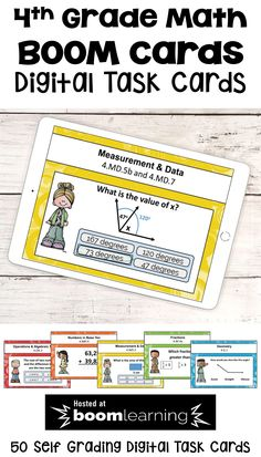 These 50 BOOM cards feature digital task cards for all the 4th grade math topics. BOOM cards are a great way to use technology in the math classroom and these cards would be great for fourth grade math test prep or end of year review. Common core standards are listed on the top of each card. With 50 cards, students will have lots of practice and the cards are self grading too! Teachers can even track student progress. Easy prep for teachers and super fun for students! Math Skills, Math Lessons, 4th Grade Math Test, Elementary Math, Upper Elementary, Math Resources, School Resources, Classroom Resources, Math Stations
