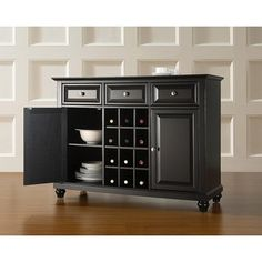 Shop for Cambridge Buffet Server / Sideboard Cabinet with Wine Storage in Black Finish. Get free delivery at Overstock.com - Your Online Furniture Shop! Get 5% in rewards with Club O! - 22359380