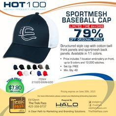 Your brand will hit a home run with our Sportmesh Baseball Cap. This cotton twill, structured cap features front panels with sportmesh back panels for style and comfort.   #caps #headwear #baseballcap #promoproducts #branding #promotionalproducts #marketing #advertising #gift #adspecialties #sale #bestseller #Halobrandedsolutions #embroideryspecial